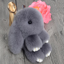 Cute Mini Genuine Rabbit Fur Pom Pom Key Chain Women Trinket Rabbit Toy Doll Bag Car Key Ring Monster Keychain Jewelry Gift