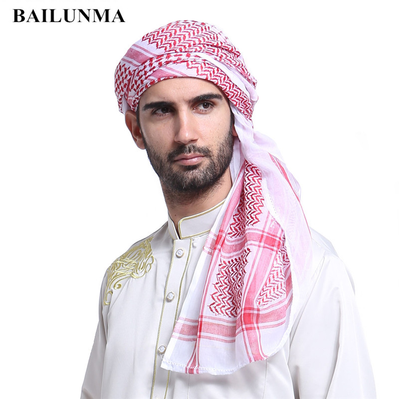 Wholesale Fashion Plaid Muslim Men Prayer Hat/Cap Saudi Arabia Men Scarf Islam Turban Ramadan Pray Caps 140*140 CM