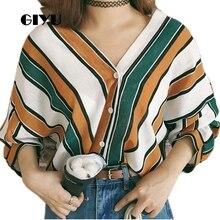 купить GIYU Drop Shoulder Women Patchwork Striped Printing Shirts V Neck Tee Buttons Sexy Loose Tops Casual camiseta mujer по цене 651.38 рублей