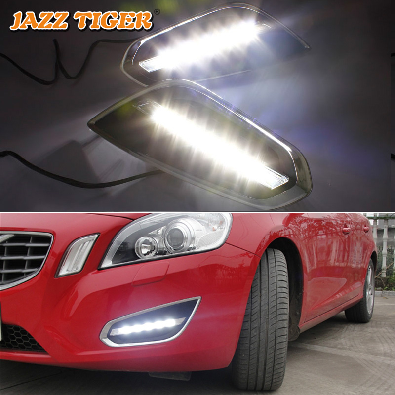JAZZ TIGER Auto Light Off Fungsi 12V Kereta Kalis Air LED Running Light LED DRL Lampu Untuk Volvo S60 V60 2011 2012 2013
