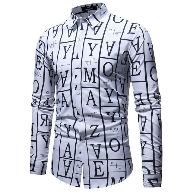 Men Long Sleeve Printed Dress Shirt