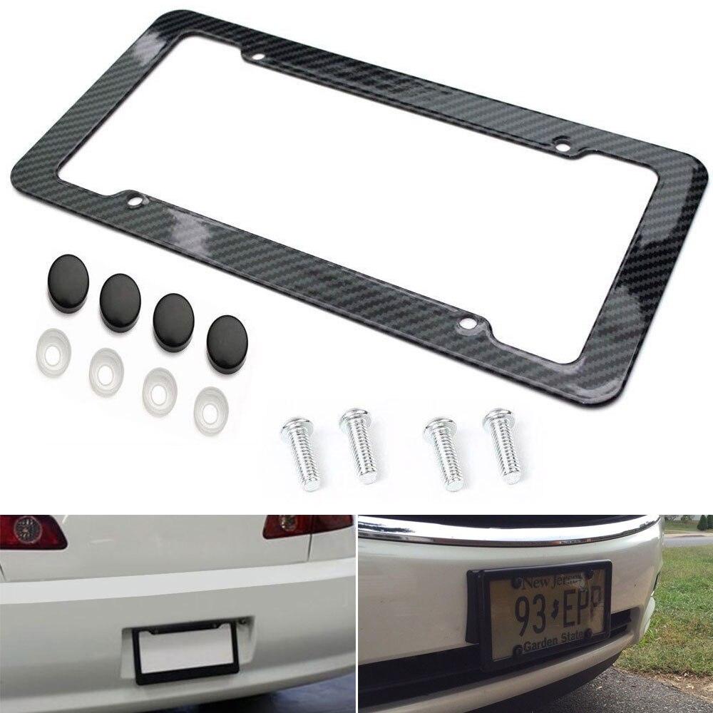 VEHEMO 2Pcs carbon fiber Car Part Black License Plate Frame Plate Frame Cover Car License Plate Accessories Screw Caps Tag