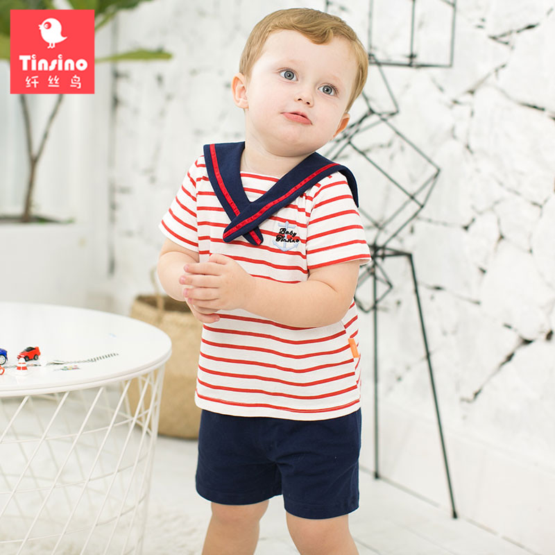 Tinsino Baby Boys Fashion Kids Clothing Sets Sailor Collar Stripe T-Shirts + Shorts Children Summer Clothes Infant Toddler Suits hot sale 2016 kids boys girls summer tops baby t shirts fashion leaf print sleeveless kniting tee baby clothes children t shirt
