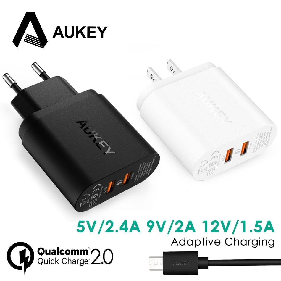 bilder für AUKEY Dual USB Wand Schnellladegerät QC 2,0 Portable Handy ladegerät 36 Watt Schnelle Reise Ladegerät für Xiaomi Meizu Huawei LG Handys
