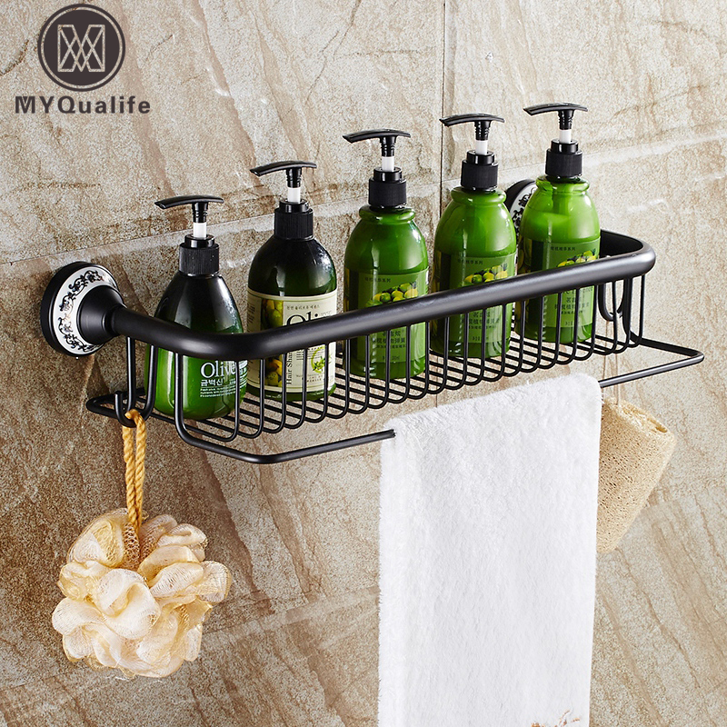 European Style Black Bathroom Kitchen Shelf Basket Wall Mounted Brass Bath Commodity Holder Towel Bar with Hooks стойка для акустики waterfall подставка под акустику shelf stands hurricane black