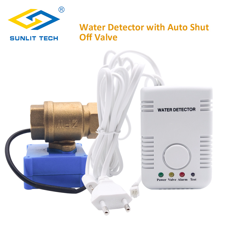 Home Smart Water Leak Detector with Automatic Water Shut Off Valve DN15 Water Flood Sensor Alert Overflow Home Alarm System dn15 automatic bypass valve for wall mounted boiler system