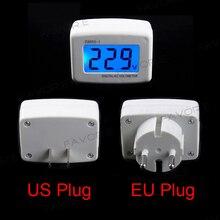 Панель переменного тока, ЖК-дисплей, Синяя подсветка, цифровой измеритель напряжения, тестер, вольтметр 110/220 В, переключатель, ЕС/США, вилка, вольт, монитор питания