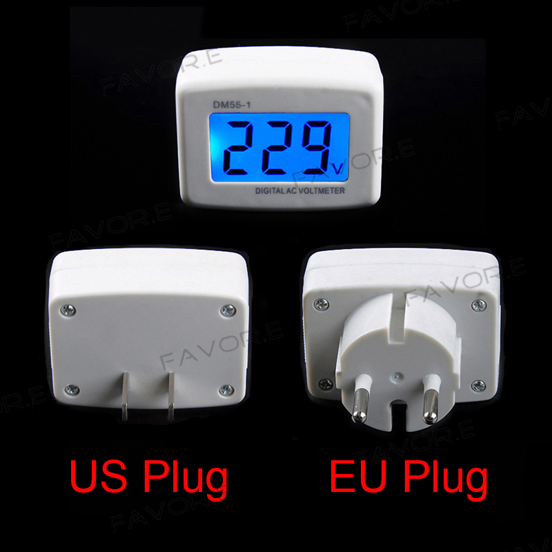 AC Panel Meter LCD Blue Backlight Digital Voltage Meter Tester Voltmeter 110/220V Switch EU/US Plug Volt Power Monitor