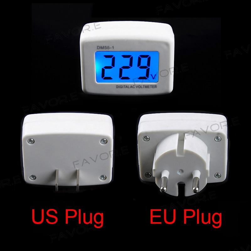 Medidor de painel ac lcd azul backlight digital voltímetro voltímetro testador 110/220 v interruptor da ue/eua plug volt power monitor