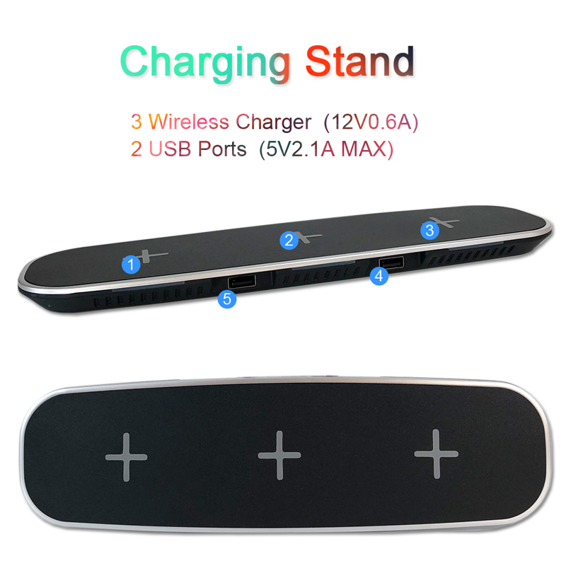 QI Wireless Charging Stand 5 Devices Universal 3 Chargers 2 USB Ports Desktop for For iPhone X 8 8 Plus Galaxy S9 Note 8 S8 Plus