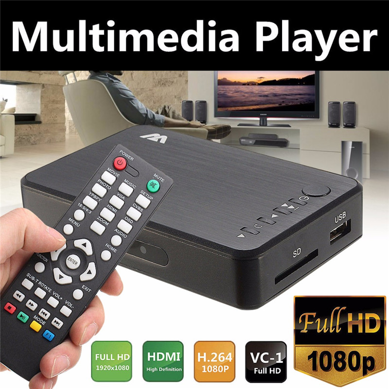 Mini 1080P HDMI Multimedia Player Kits Professional HDD USB2.0 External Multimedia Player With 3 Outputs HDMI/VGA/AV Mayitr