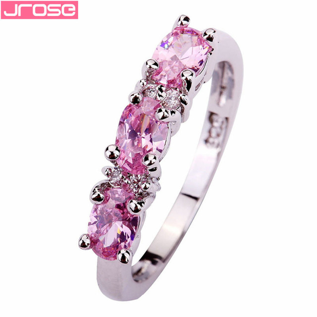 JROSE Wholesale Oval Cut Pink White Cubic Zirconia Fashion Classic Silver Ring S