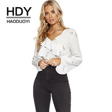 91e444f441 HDY Haoduoyi V Neck Falbala Printed Floural Sweet Long Balloon Sleeve Blouse  Brief Smocking V-neck Office Lady Shirt For Women