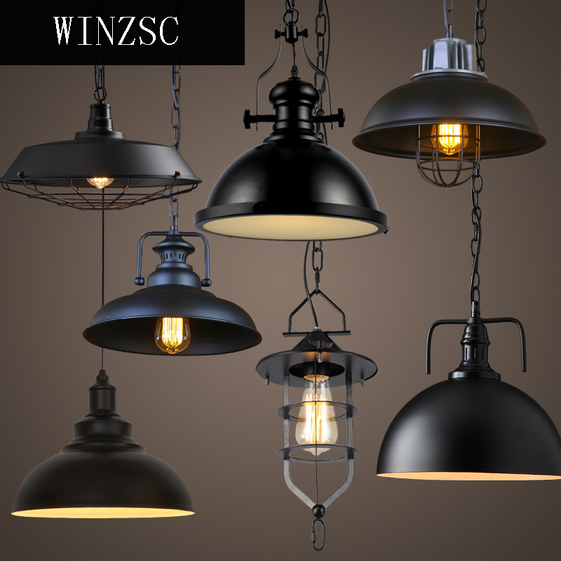 Retro industry air dining table cover lid bar chandelier creative loft creative personality retro iron lamp shade GY41