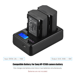 Image 3 - Andoer LCD2 FZ100 LCD Display Dual Channel Camera Battery Charger for Sony NP FZ100 a9 a7RIII a7III Camera Battery Charger