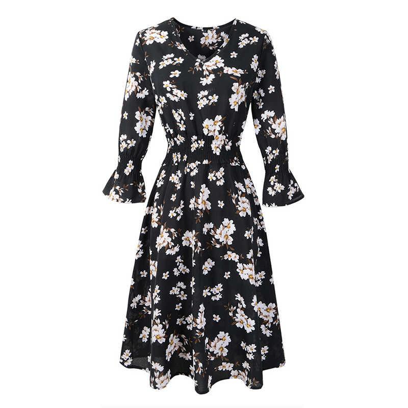 JAPPKBH Элегантное летнее платье с принтом женское повседневное сексуальное с v-образным вырезом офисные женские платья Винтаж расклешенный рукав пляжное праздничное платье Vestido
