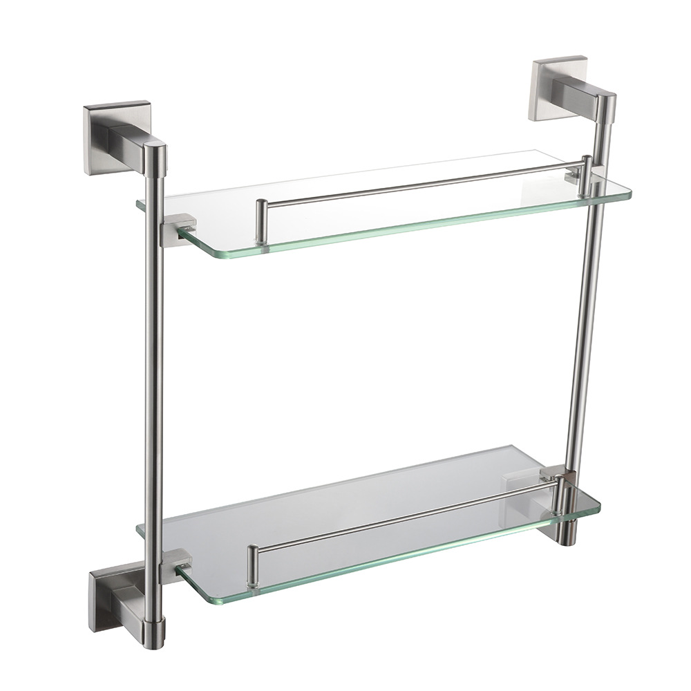 Bathroom Shelves 2 Layer Silver Stainless Steel Shower Shelf Wall Mount Glass Storage Shelf Rack Bathroom Basket Holder Sj19 bathroom shelves stainless steel wall mount shower corner shelf shampoo storage basket modern home accessories holder wf 18067