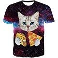 Alegría Sólo 2016 Summer Galaxy Impresión 3D Camiseta Gato de Pizza Ciudad de bala Pistola de la Historieta de la Camiseta Hombres de Las Mujeres de Manga Corta Casuales Tee Tops