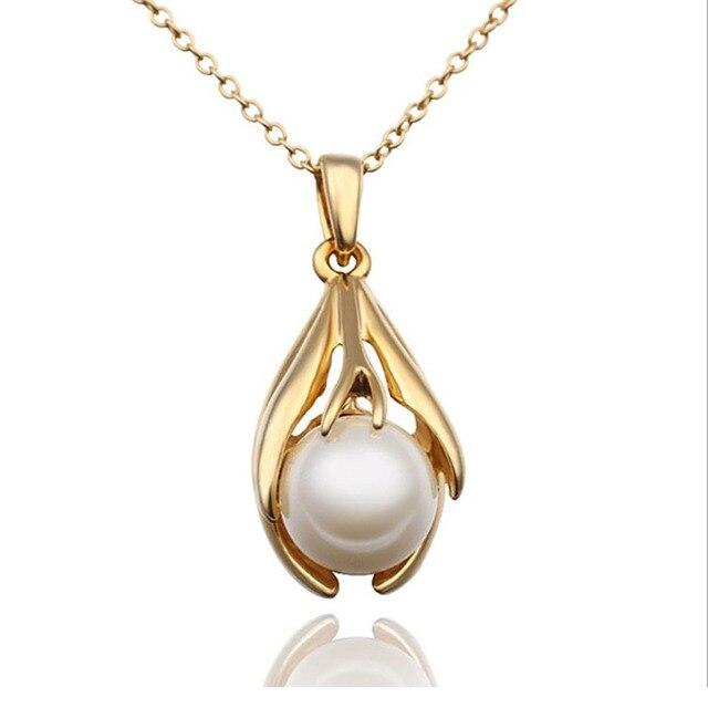 Simulated Pearl Pendants Necklace Women Nickel Free Fashion Jewelry 2015  Rhinestone Pendant Necklace Gold Chain Collar 70e4ac309860