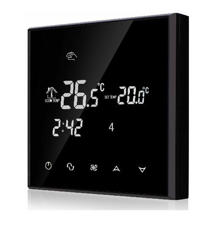 2 pipes 4 pipes Touch Screen Fan coil Programmable Thermostat with Black acrylic iec certificate programmable timer smart touch screen fan coil thermostat with aluminum alloy wire drawing silver