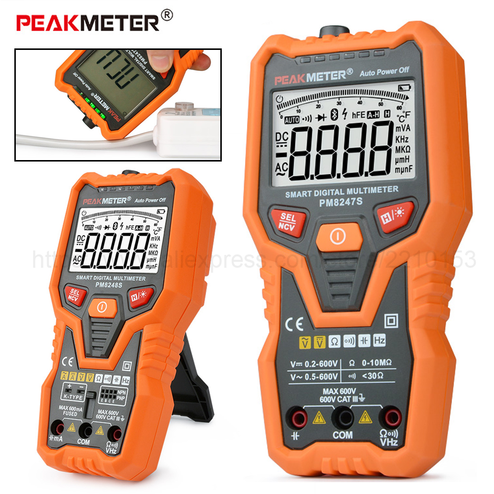 DC/AC Smart Full Auto Range Digital Multimeter NCV Frequency Temperature Capacitance Tester PM8247S/PM8248S auto range handheld 3 3 4 digital multimeter mastech ms8239c ac dc voltage current capacitance frequency temperature tester