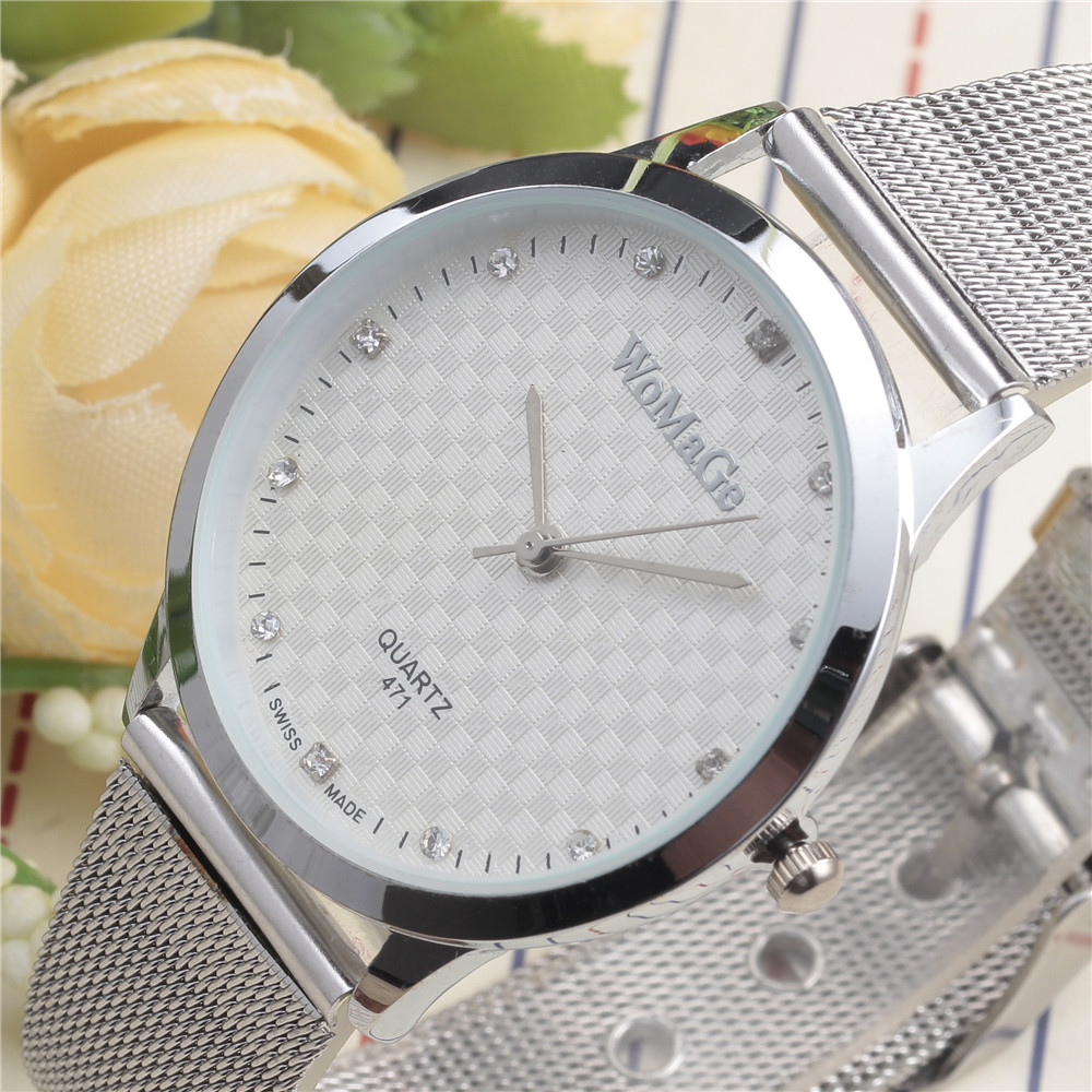 2016 New Luxury Brand Top Quality Casual Womge Quartz Watch Women Metal Mesh Stainless Steel Dress Watch Relogio Feminino Clock 2017 new famous brand men black casual quartz watch women metal mesh stainless steel dress watches relogio feminino clock
