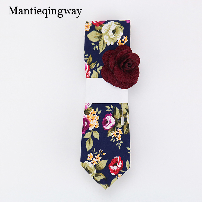 Mantieqingway 6 εκ. Vintage Floral βαμβακερό γραβάτα για άνδρες Wedding μαύρο δερμάτινο λεπτό Gravatas Corbatas μόδας Casual τυπωμένο γραβάτα δερμάτων