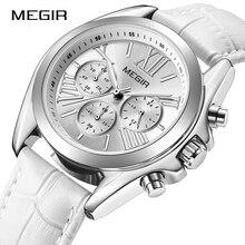 למעלה חדש לגמרי Megir הכרונוגרף נשים שעון יוקרה מאהב שעון עור רצועת קלאסי ליידי לבן שעונים שמלת שעון נשי 2020