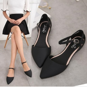 Summer Korean Style Fashion Breathable Pointed Toe Women Beach Sandals Buckle Flat Heels Cover Heel Lady Jelly Shoes 20190518(China)