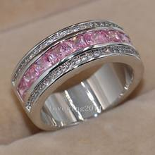 Nice Jewelry Pink 5A Cubic Zirconia Diamonique 10KT White Gold Filled Women Engagement Wedding Ring for christmas gift Sz 5-11(China)