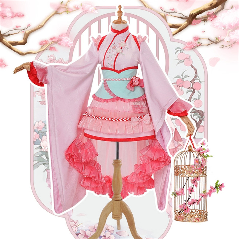 New Japanese Anime Card Captor KINOMOTO SAKURA Clear Card Lolita Pink Cosplay Costume Women Dress Cosplay