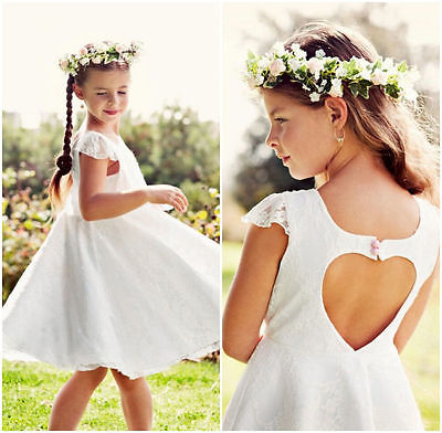 Children Girls Clothing Backless Dress Princess White Lace Brief Floral Pink Bowknot Party Gown Dress Summer Outfits 2 4 6 8 10 2016 summer hot girls rose golden wide belt dress children floral formal dress birthday party dress red white pink 6 size