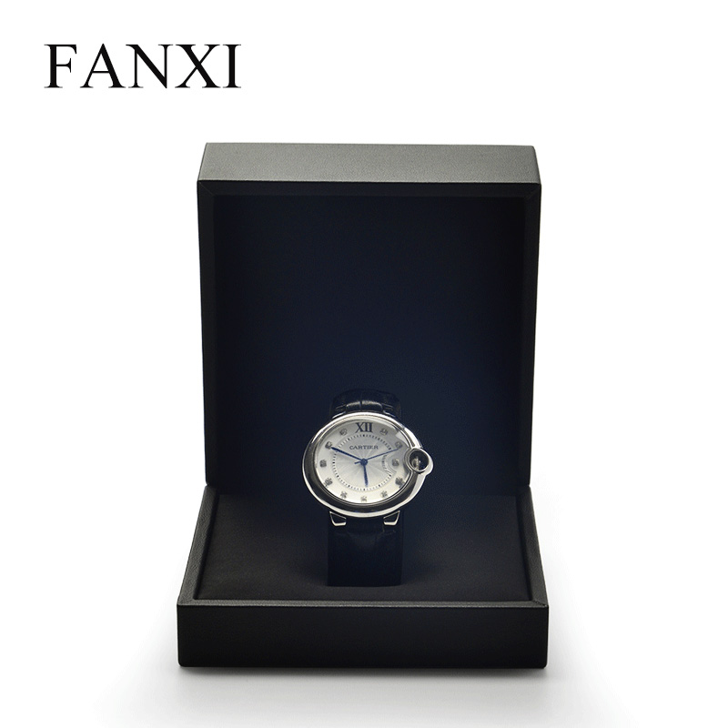 FANXI New Style Wrist Watch Box PU Leather With Silk Internal Black & White Watch Display & Storage Box Watch Organizer