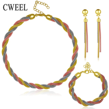 African Beads For Jewelry Sets Women Imitated Crystal Necklace Earrings 3 Color Gold Plated Pendant Wedding Dress Accessories