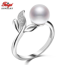 Feige 925 Sterling Silver Finger Ring New Design Accessories 7-8mm White Freshwater Pearl Rings for Women Anillos Fine Jewelry