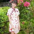 Summer new Chinese Hot sale Fashion red strawberry print Cheongsams Sweet Cute Women Young Girls Slim short-sleeve Qipao dress