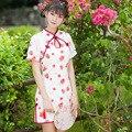 Verão novo Chinês Hot sale Da Moda red morango impressão Cheongsams Doce Bonito Mulheres Meninas Slim-manga curta Qipao vestido