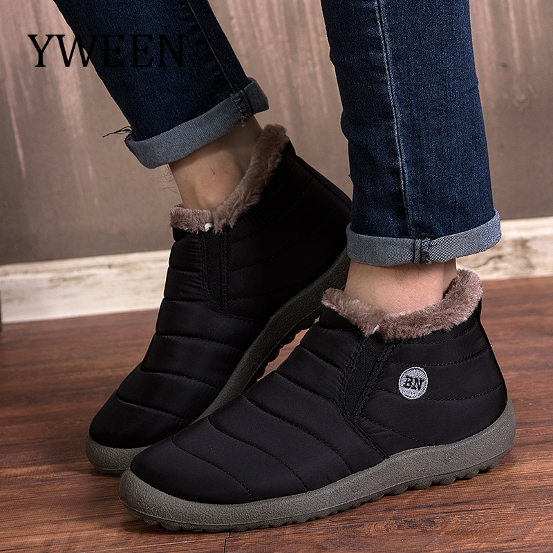 YWEEN Solid Color Snow Boots Men Warm Waterproof Slip-on Mens Winter Shoes Plus Size 35-48