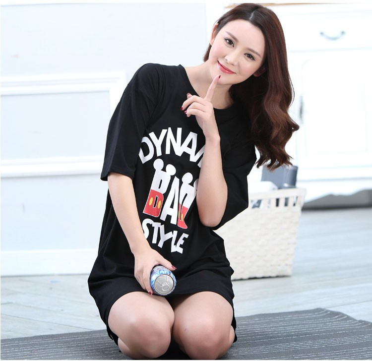 The new 2016 hot summer women cotton black nightgowns knee length ... 2ae314da0