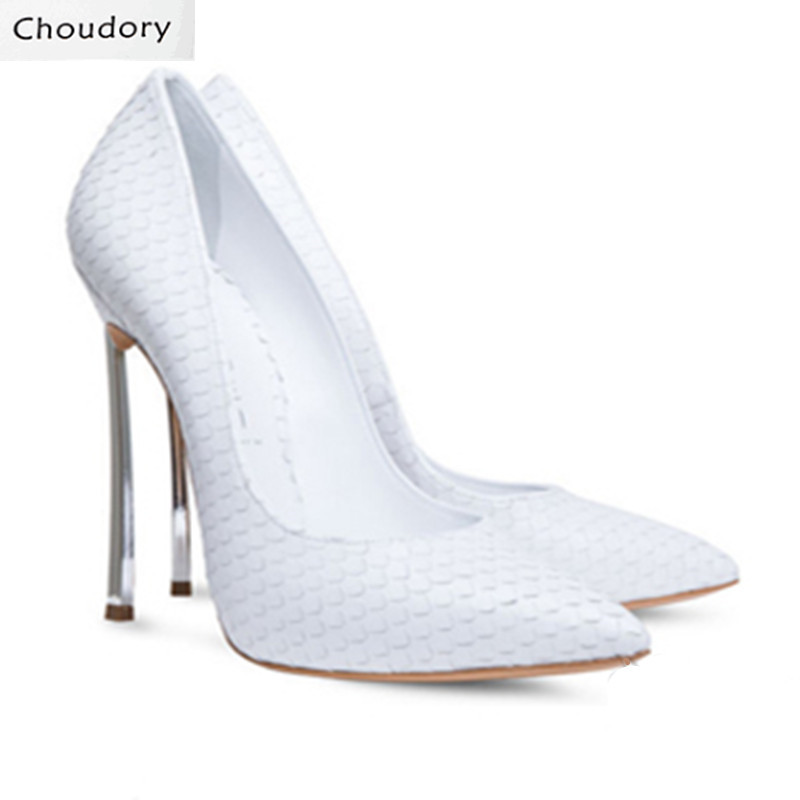 Choudory Super High Heels Slip-On Shoes Woman New Designer High Quality Shoes Solid Shallow Pointed Toe Snakeskin Women Pumps