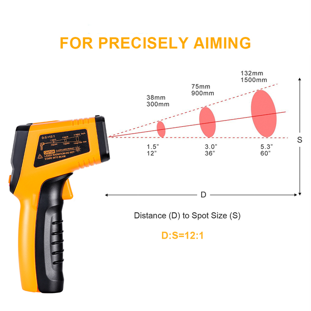 DEKO WD01 Non-Contact Laser LCD Display IR Infrared Digital C/F Selection Surface Temperature Thermometer Pyrometer Imager 3