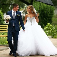 Robe De Mariage Beautiful Sweetheart Crystal Ball Wedding Dresses Rhinestone Princess Bridal Dress Custom Made