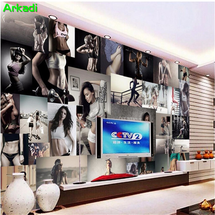 3d Gym Sports Poster Photo Wallpaper Dance Yoga Muscle Boxing Background Wallpapers Industrial Wind Kicking Room Mural Wallpapers Aliexpress