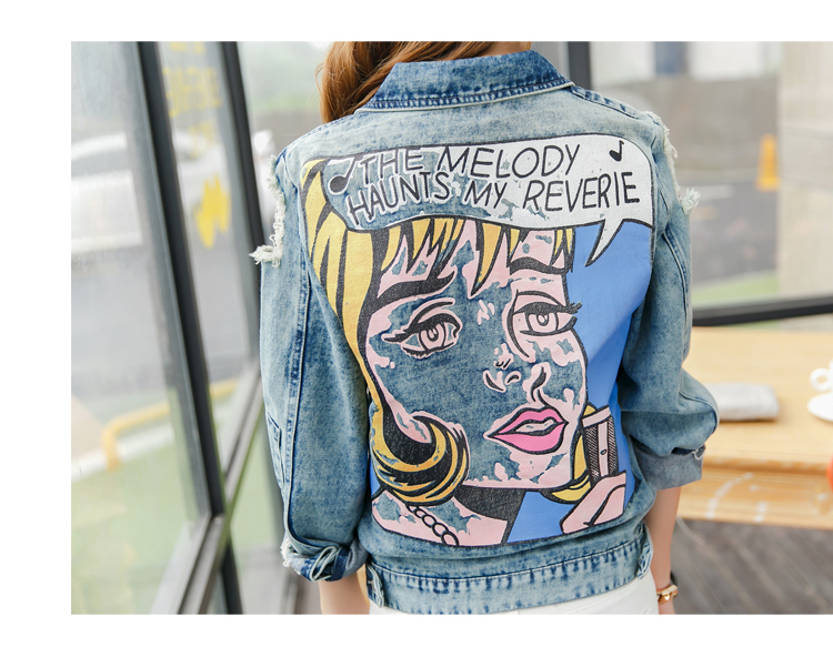 New arrival women s colored beauty print denim jacket Lady s casual loose coat Female fashion
