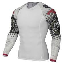 Компрессия мышц для мужчин Tight обтягивающая футболка одежда с длинным рукавом 3D принтами Рашгард фитнес база слои тяжёлая атлетика мужской бег топы корректирующие
