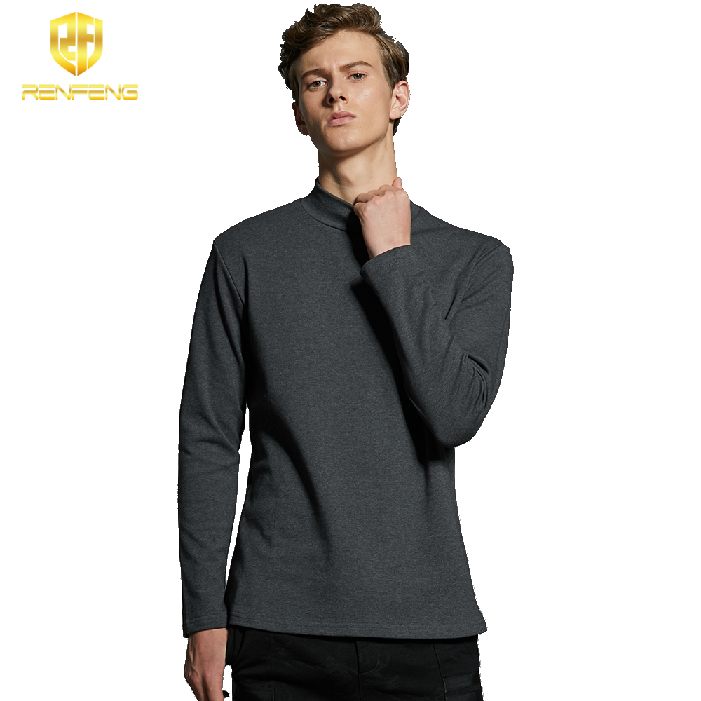 Pack of 5 Men's Cotton Undershirts Man Underwear Long leeved Undershirt Winter High Neck Shirts Spandex Thermal Solid T Shirts (5)