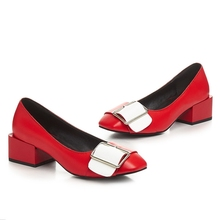 Fashion Spell Color Thick Heels Elegant Square Toe European Style Women Party Banquet Shoes With Belt Buckle 2017 Spring New