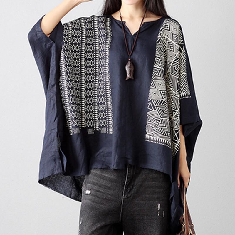 Women Blouses Casual Print V Neck Batwing Sleeve Irregular Loose Blouse Shirts Vintage Retro Female Summer Boho Tops Oversized