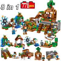 8 Sets/lot Minecraft Toy With Weapons Manor My World Model Building Blocks Bricks Set Assembly Action Figures Toys For Kids #E