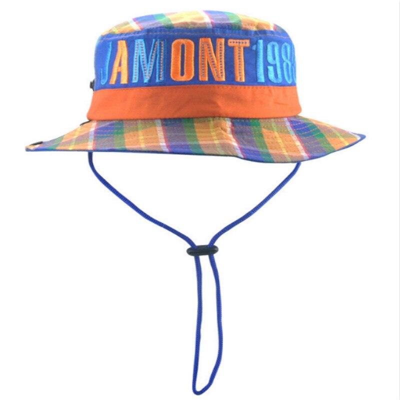 f9c602af025  JAMONT Wide Brim Boy Girl Plaid Bucket Hat Cap With String Kids Outdoor  Fishing hat Children Summer Beach Sun Panama Casquette